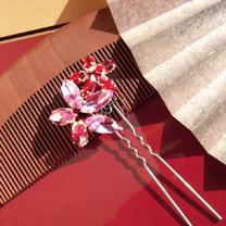 お花の髪飾り(赤)