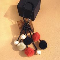コットンパール&ポンポンのふんわりバッグチャーム