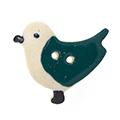 ポーセレンボタン<br />(鳥・グリーン)