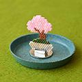 シェイプドステッチで作る桜盆栽