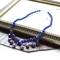 ブルーアクリルストーンのデコネックレス