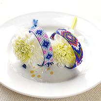 デリカビーズ織りで作るミサンガブレス(青)