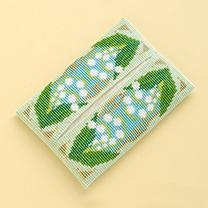 デリカビーズ織りで作るティッシュカバー(スズラン)